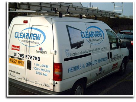 Clearview TV Services sign written van